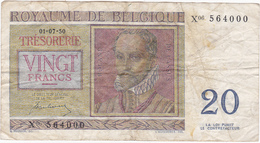 Belgique - Billet De 20 Francs - De Lassus & De Monte - 1er Juillet 1950 - [ 2] 1831-... : Belgian Kingdom