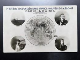 C.P.A. Première Liaison Aérienne France Nouvelle Calédonie, PARIS NOUMEA , 6 Mars, 5 Avril 1932, Avions René Couzinet - New Caledonia