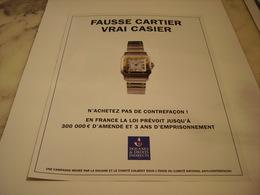 PUBLICITE AFFICHE CONTRE FACON CARTIER - Vintage Clothes & Linen
