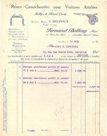 92 LEVALLOIS PERRET  FACTURE 1925 Roues Caoutchoutées Pour Voitures Attelées BOLLING Anc. DELPOUX  * Z74 Sulky - France