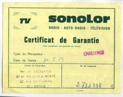 SONOLOR - RADIO TELEVISION - GARANTIE - MICHEL BREMARD RUE DES CORDELIERS MEAUX - France