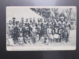 C.P.A. Nouvelle Calédonie Cocotiers Et Une Tribu Canaque - New Caledonia