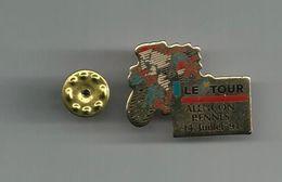 LE TOUR DE FRANCE ALENCON RENNES 14 JUILLET 1991 PINS ATTENTION REFLET AVEC SCAN PINS EN TRES BON ETAT - Badges