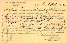 Belgique ANVERS - Agence Maritime Walford - Entiers Postaux - Postcards [1909-34]