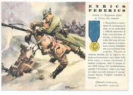 Cpa..italie Médaille De La Guerre Accordée A Enrico Federico .II Régiment Alpin De Torino...1940..... - Guerre 1939-45