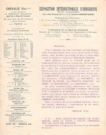 75 PARIS COURRIER 189. CHEVALIE Agent Général De L' EXPOSITION INTERNATIONALE D' INNSBRUCK  Autriche   * Z74 - France