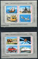 ROMANIA 1988 4435-4442 (BL.239-240) INTEREUROPA - Transport And Communications - Space