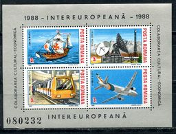 ROMANIA 1988 4439-4442 (BL. 240) INTEREUROPA - Transport And Communication - Space