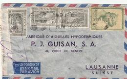 De Grèce Pour  La Suisse Lettre Par Avion Avec Bande Contrôle Du Change Affranchie Yvert 556 Et 569 - Grèce