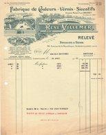 93 AUBERVILLIERS FACTURE 1931 Fabrique De Couleurs Vernis VILLEMER  DUBOURG Anc. LONGPREY   * Z74 - France