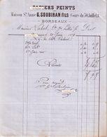 Document Du 20/06/1877 SOUBIRAN Papiers-peints - Bordeaux 33 - France
