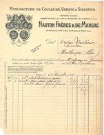 93 SAINT OUEN Sur Seine FACTURE 1911  Manufacture De Couleurs Vernis NAUTON & DE MARSAC  * Z74 - France