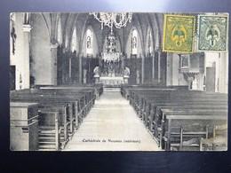 C.P.A. Nouvelle Calédonie NOUMEA Interieur Cathédrale, 2 Timbres En 1907 - New Caledonia