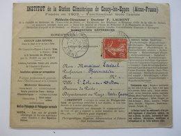 Enveloppe Publicité 02 Coucy-les-Eppes, Institut De La Station Climaterique,1908 - Advertising