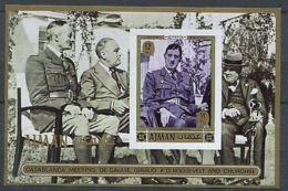 Ajman Charles De GAULLE Winston CHURCHILL Souvenir Sheet  Imperf - De Gaulle (Generaal)