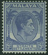 STRAITS SETTLEMENTS MALAYA KGVI 1941 15c Ultramarine SG 298 Mounted Mint - Straits Settlements