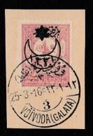 (OT) Ottoman Postal History 1916 VOIVODA ( GALATA ) Fragment - Used Stamps