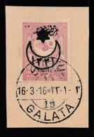 (OT) Ottoman Postal History 1916 GALATA Fragment - Used Stamps