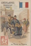 Chromos - Chromo La Poste En France - Automobile Facteur Opéra - Timbre Drapeau - Publicité  Savon Crésyl-Jeyes Paris - Trade Cards