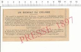 Presse 1897 Un Bienfait Du Cyclisme M. Doudement Pianiste Aveugle à Elbeuf Tandem Vélocipède 216PF10X - Old Paper