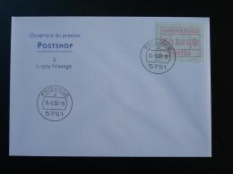 Lettre Avec Vignette ATM Cover Ouverture Du Premier Postshop Frisange Luxembourg 2000 - Vignettes D'affranchissement