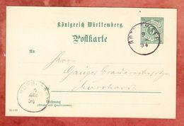 P 37 Ziffer, Gaggstatt Ueber Rot Am See Nach Murrhardt, AK-Stempel 1894 (47062) - Wurtemberg