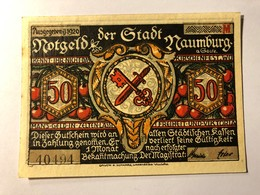 Allemagne Notgeld Naumburg 50 Pfennig - [ 3] 1918-1933 : Weimar Republic