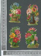 CHROMO DECOUPIS  GAUFRÉ / LOT DE 4 POTS DE FLEURS BIEN GAUFRÉS - Flowers