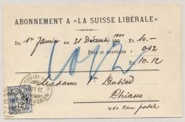 Schweiz - 1900 - 12c Wappen On Abo-card From Neuchatel To Chiasso - Brieven En Documenten