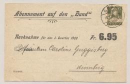 Schweiz - 1920 - 13c Tell On Abo-card From Bern To Heimberg - Zwitserland