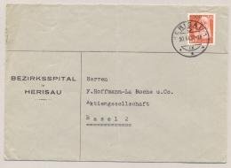 Schweiz - 1937 - 20c Portofreiheitsmarke On Cover From Bezirksspital Herisau To Basel - Vrijstelling Van Portkosten