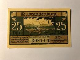 Allemagne Notgeld Neubrandenburg 25 Pfennig - [ 3] 1918-1933 : Weimar Republic