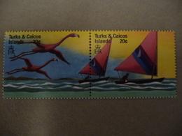 """Turks &Caicos  1999 N° Y&T  1308 Et 1309 Attachés   """" Flamands Roses Et Voiliers """"  2v.  Neuf - Turks & Caicos (I. Turques Et Caïques)"""