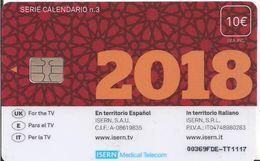 TARJETA ISERN HOSPITAL TELEVISION TELEFONO CALENDARIO Nº3 - Tarjetas Telefónicas