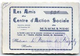 LES AMIS DU CENTRE D ACTION SOCIALE DE MARMANDE   CARTE DE MEMBRE  1937 - France
