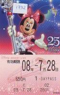 Carte Prépayée Japon * DISNEY RESORT LINE (1732) MINNIE MOUSE * TRAIN * 650 YEN  * 1 DAYPASS * JAPAN PREPAID CARD - Disney