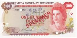 SPECIMEN BILLETE DE BERMUDA DE 100 DOLLARS DEL AÑO 1982 SIN CIRCULAR-UNCIRCULATED  (BANKNOTE) ESPECIMEN - Bermudes