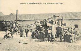 C-18 : 1263 : MEREVILLE. LA BATTERIE AU PETIT-VILLERS. MACHINE A BATTRE. AGRICULTURE. MOISSON. - Mereville