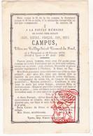 DP Student College Brussel - Oscar G. Campus 11j. ° Dendermonde 1872 † Ieper 1883 - Devotion Images