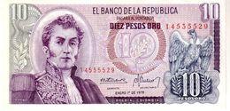 Colombia P.407 10 Pesos 1978 Unc - Colombia