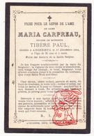 DP Maria Carpreau 29j. ° 1865 † Anserœul Anseroeul Mont-de-l'Enclus Kluisberg 1894 X Paul Tibère - Devotion Images