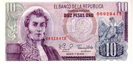 Colombia P.407 10 Pesos 1979 Unc - Colombia