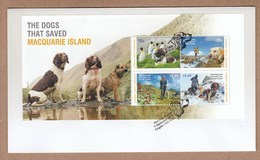 AAT FDC 2015 The Dogs That Save Macquaries Island - Large Minisheet - FDC
