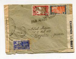 !!! PRIX FIXE : GUYANE, LETTRE PAR AVION DE CAYENNE DE 1945 POUR LA JAMAIQUE, AVEC CENSURE - Guyane Française (1886-1949)