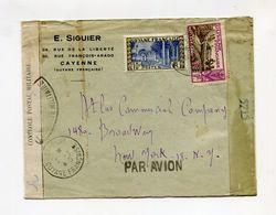 !!! PRIX FIXE : GUYANE, LETTRE PAR AVION DE CAYENNE DE 1945 POUR NEW YORK, AVEC CENSURE - Guyane Française (1886-1949)