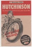 Dépliant 3 Volets Tarif Confidentiel   Pneus Et Chambres De Moto HUTCHINSON Décembre 1938 - Advertising