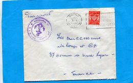 Marcophilie-lettre Guerre D'algérie  FM ->France -cad-BATNA+cahet 2mr R I C  1955 Stamp FM N° 12 - Postmark Collection (Covers)