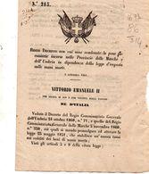 1861 DECRETO CON CUI SONO CONDONATE LE PENE PECUNIARIE SULLE MANI MORTE - Decreti & Leggi