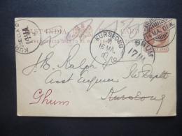 East India Post Card Quarter Anna Postmark  DARJELING /KURSEONG / GHUM 1907 - India