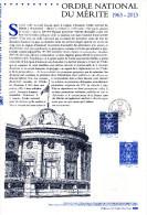 """"""" ORDRE NATIONAL DU MERITE """" Sur Document Officiel De 2013  N° YT 4830. Parfait état. DPO - FDC"""